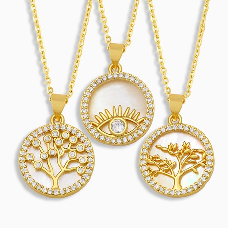 New fashion Round Shell Diamond Necklace NHAS318379's discount tags
