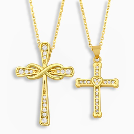 fashion heart-shaped cross necklace  NHAS318382's discount tags