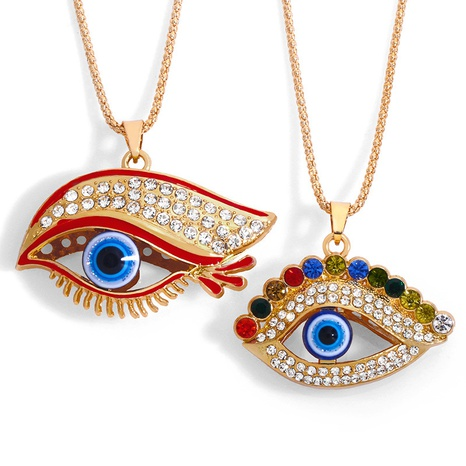 fashion simple long demon eye necklace NHAS318381's discount tags
