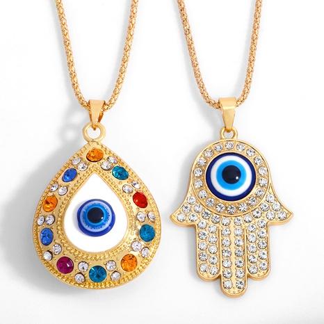 fashion alloy Turkey Blue Eyes Diamond necklace NHAS318380's discount tags