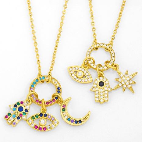 Creative simple eyes necklace NHAS318388's discount tags