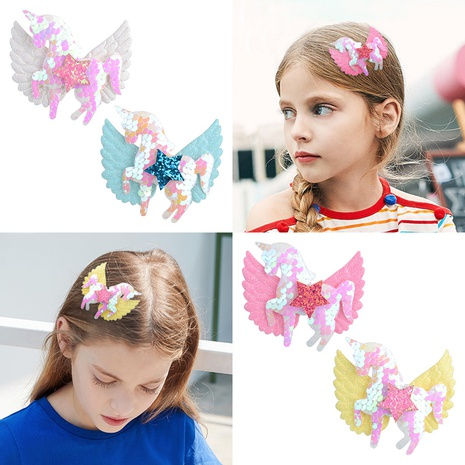 new children's unicorn wings bow hairpins set NHMO318401's discount tags