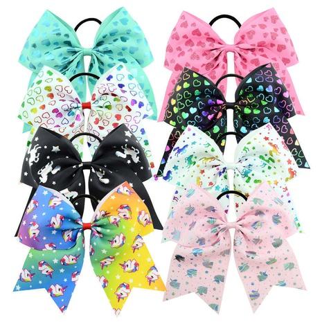 new fashion unicorn printing ribbed dovetail bowknot hair ring set  NHMO318452's discount tags