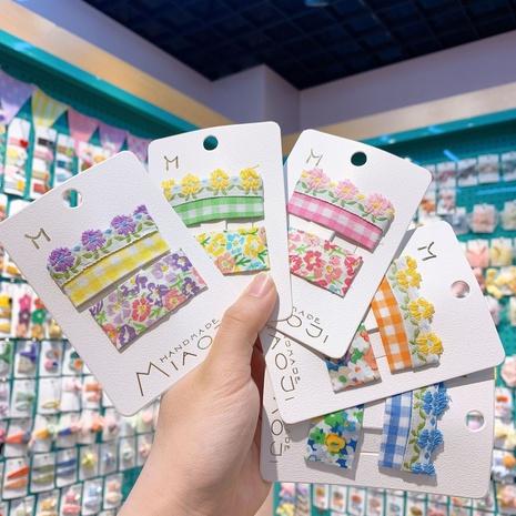 neue Mode Stickerei Plaid Blumen Kinder BB Clip-Set NHCU318476's discount tags