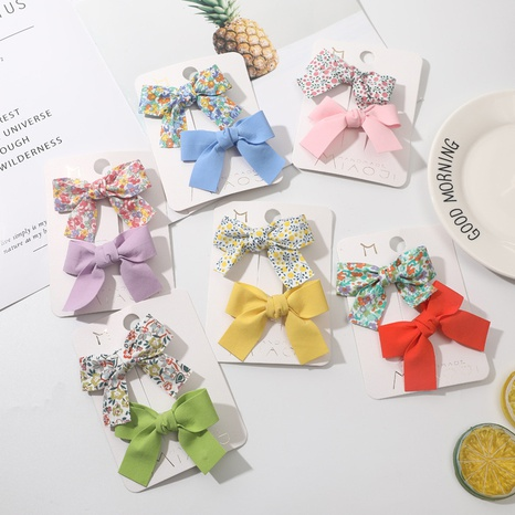 new fashion bowknot floral solid color simple hairpin set  NHCU318481's discount tags