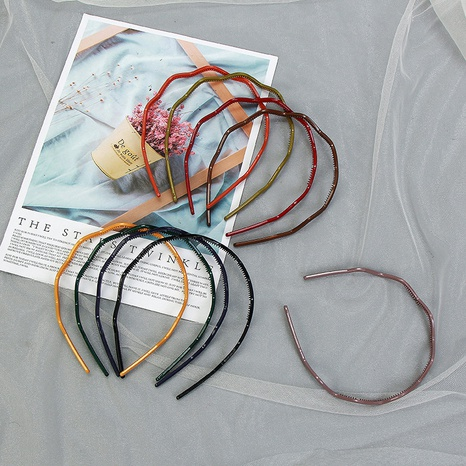 Simple color acrylic wave hair band set NHCU318486's discount tags