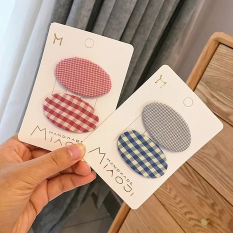 new simple cute plaid hairpin set NHCU318502's discount tags