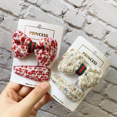 new korean new plaid bow BB clip set NHCU318508's discount tags