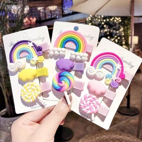 Nuevo conjunto de horquillas de arco iris lindo coreano NHCU318519's discount tags