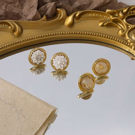 Korean retro flower resin round earrings  NHMS318535's discount tags