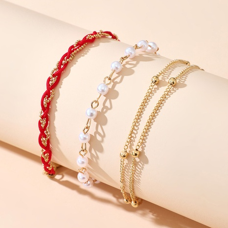 fashion simple new Pearl Anklet 3-Piece Set  NHGY318325's discount tags