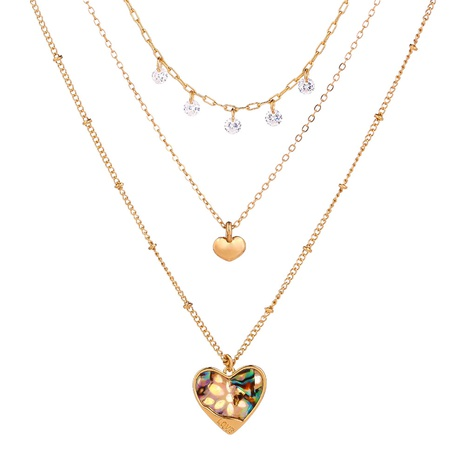 fashion simple peach heart natural abalone shell love necklace NHAN321676's discount tags