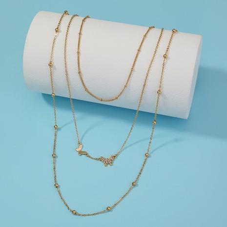 collar retro de mariposa con cuentas de múltiples capas simple NHAN321682's discount tags