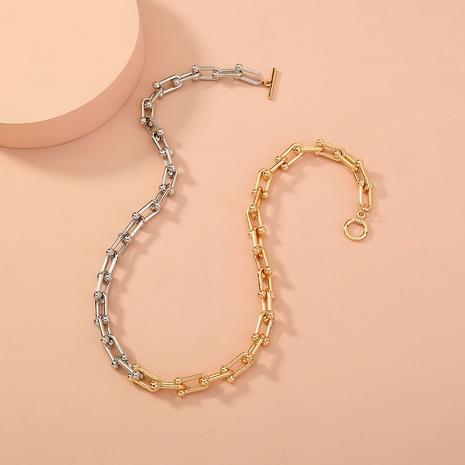 fashion retro simple OT buckle U-shaped necklace NHAN321686's discount tags