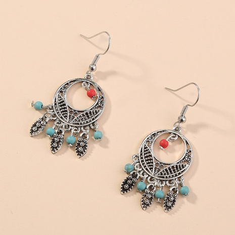 fashion turquoise retro bohemian feather tassel earrings NHAN321687's discount tags