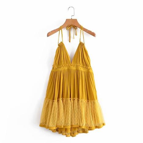 wholesale halter mesh stitching dress NHAM321695's discount tags
