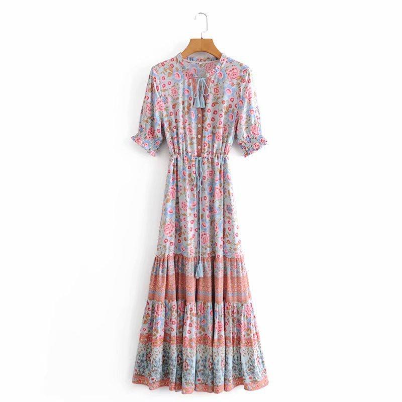 printing laceup shortsleeved dress NHAM321699