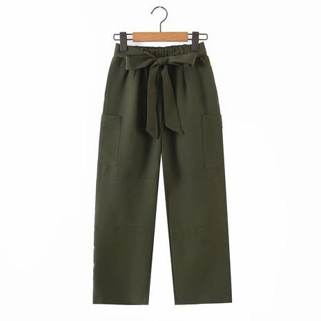 pantalon vert armée taille élastique à la mode printemps NHAM321718's discount tags