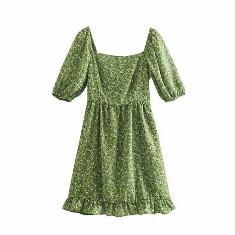 robe à col carré à imprimé rétro NHAM321736's discount tags