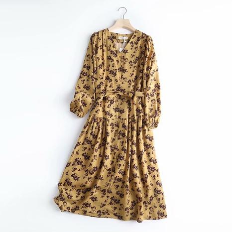 robe florale à la taille à la mode NHAM321746's discount tags