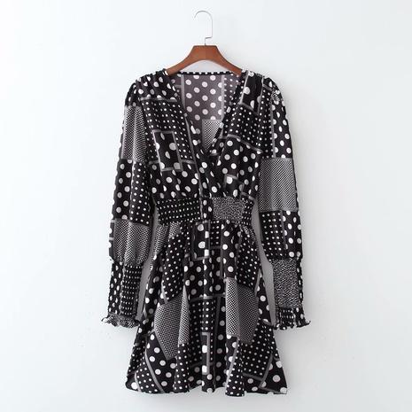 robe à taille croisée imprimée à pois NHAM321748's discount tags