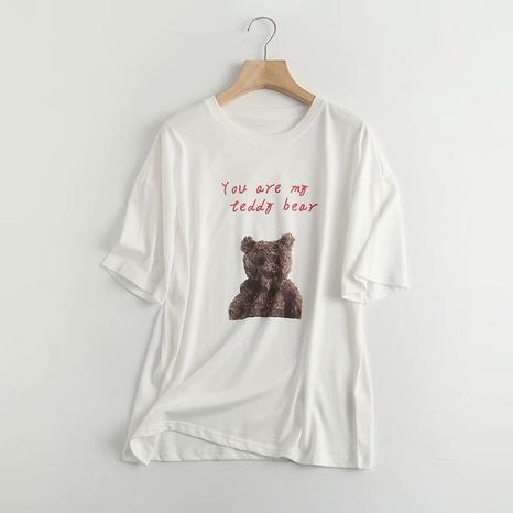 T-shirt décontracté à manches courtes à col rond et imprimé ours NHAM321758's discount tags