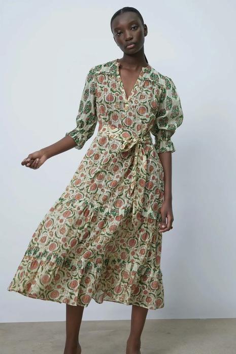 Vente en gros robe imprimée à manches longues NHAM321770's discount tags