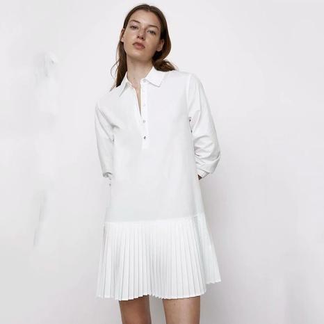 petite robe à manches longues plissée fashion NHAM321773's discount tags