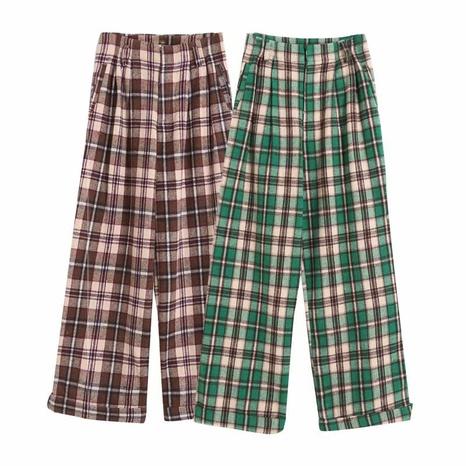 pantalon large en laine à carreaux à la mode printemps NHAM321774's discount tags