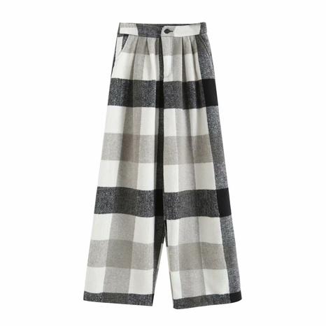 nouveau pantalon large à carreaux de printemps, pantalon décontracté NHAM321779's discount tags