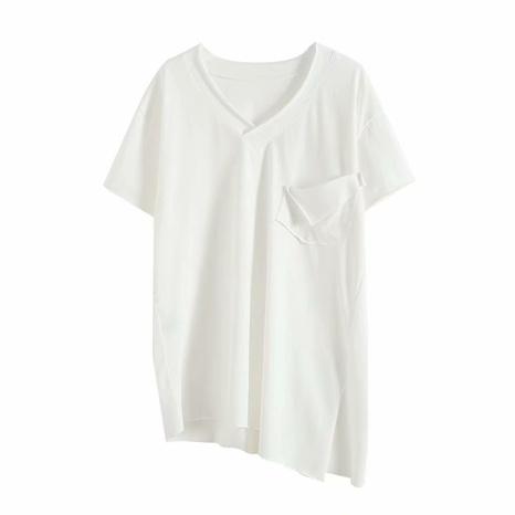 T-shirt col en V avec poches et coutures irrégulières NHAM321784's discount tags