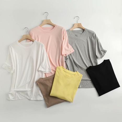 t-shirt ample col rond manches courtes de couleur unie NHAM321789's discount tags