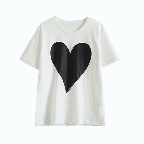 t-shirt blanc à col rond imprimé cœur pêche simple NHAM321800's discount tags