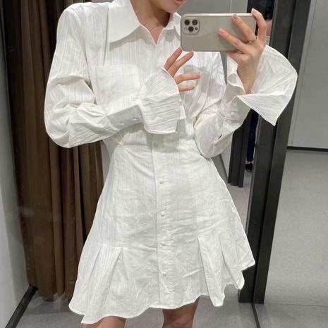 robe à manches longues avec revers à la taille NHAM321804's discount tags
