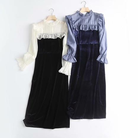 robe à volants en mousseline de soie à manches trompette NHAM321807's discount tags