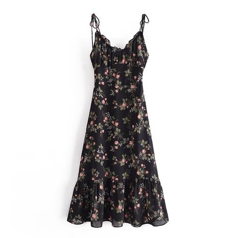 Robe à bretelles col V à imprimé floral français NHAM321810's discount tags
