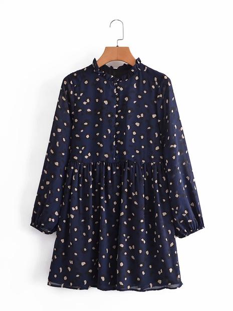 Vente en gros impression robe à manches longues à poignets élastiques NHAM321811's discount tags