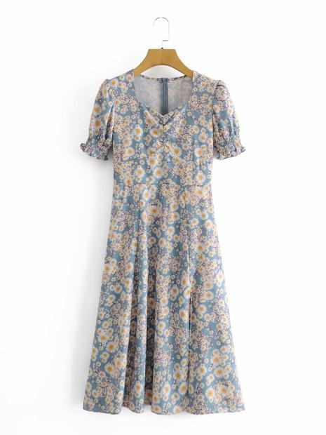 robe à manches bouffantes imprimée marguerite en gros NHAM321839's discount tags