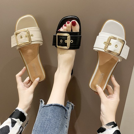 new fashion flat-heel square toe sandals NHPE321856's discount tags
