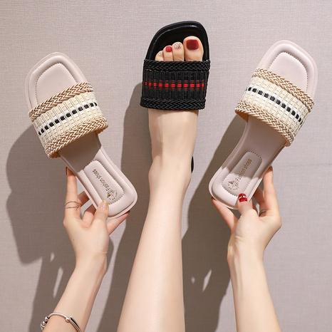 Nouvelles sandales plates en matériau tissé à la mode NHPE321857's discount tags