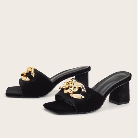 Sandales d'été coréennes à talons épais NHHU321863's discount tags