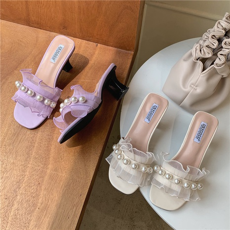 Korean summer lace pearl sandals NHHU321864's discount tags
