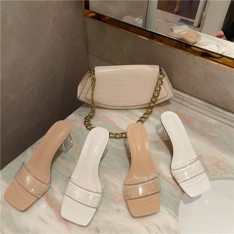summer open-toed thick-heeled crystal sandals NHHU321874's discount tags