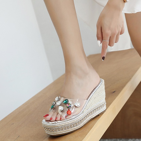 summer thick-soled high-heeled rhinestone sandals NHHU321882's discount tags