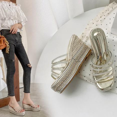 fashion summer thick-soled rhinestone sandals NHHU321890's discount tags