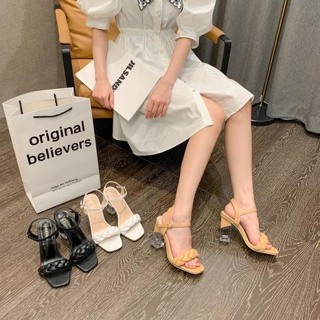 simple crystal high-heeled sandals NHHU321892's discount tags