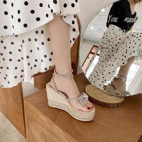 fashion wedge heel rhinestone sandals  NHHU321894's discount tags