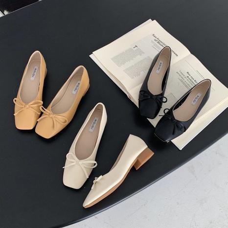 nouvelles chaussures peu profondes à semelle souple coréenne à bout carré NHHU321898's discount tags