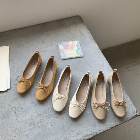 new simple bowknot shallow retro shoes NHHU321900's discount tags