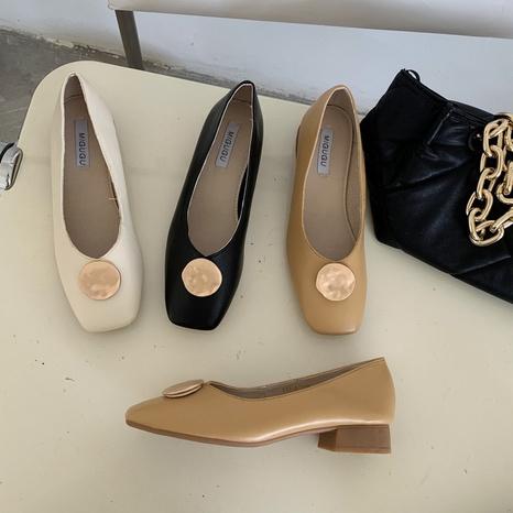 Nouvelles chaussures coréennes à bout carré peu profond NHHU321902's discount tags